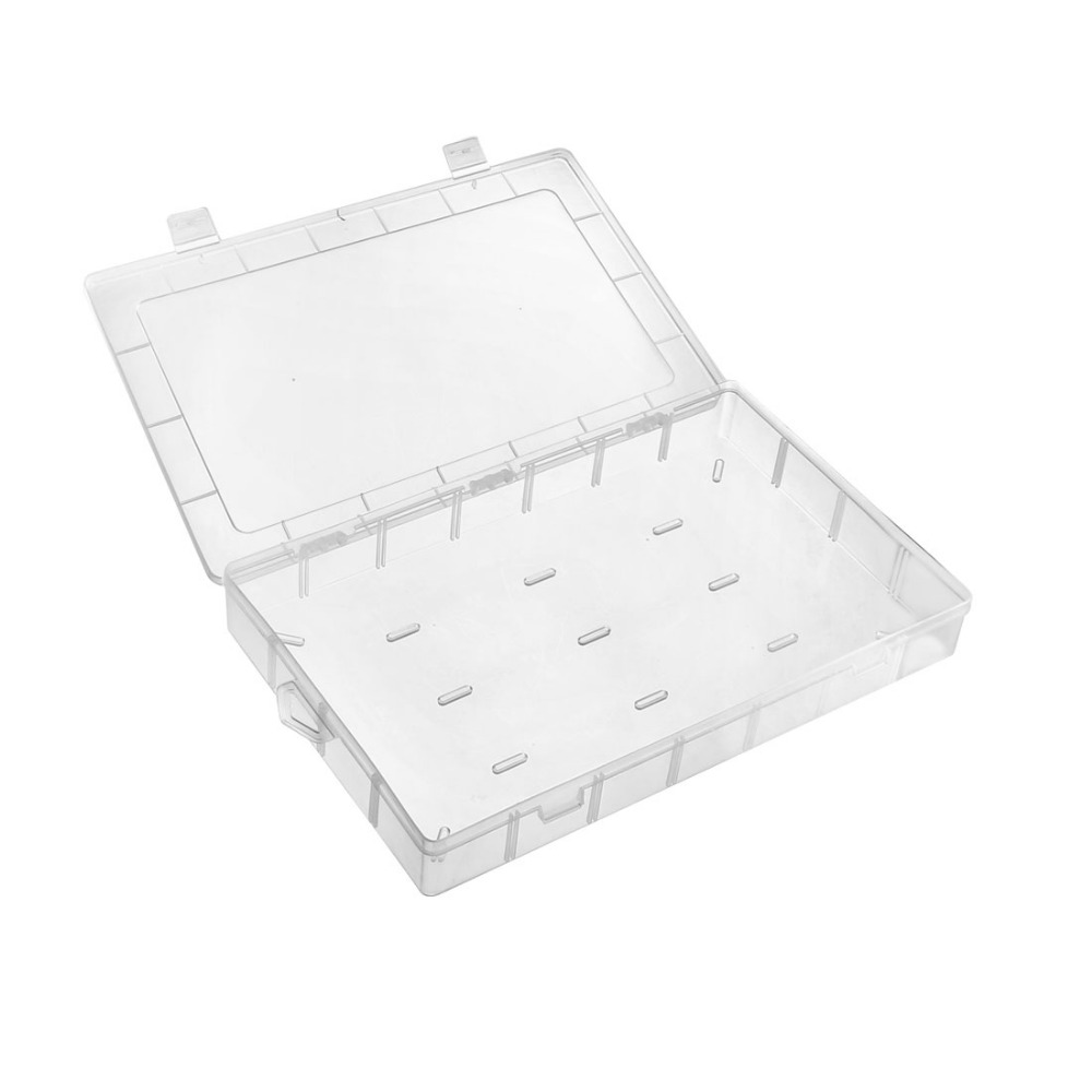 Uxcell Double Buckles Component Storage Box PP Electronic Component Containers Tool Boxes Clear White 345x215x40mm 230x160x60mm