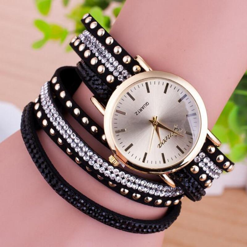 font b Steampunk b font Black Leather PU Rhinestone Multi Layered Bracelet font b Watches