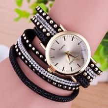 Steampunk Black Leather PU Rhinestone Multi Layered Bracelet Watches For Women Bohemian Coil Suede Quartz Women