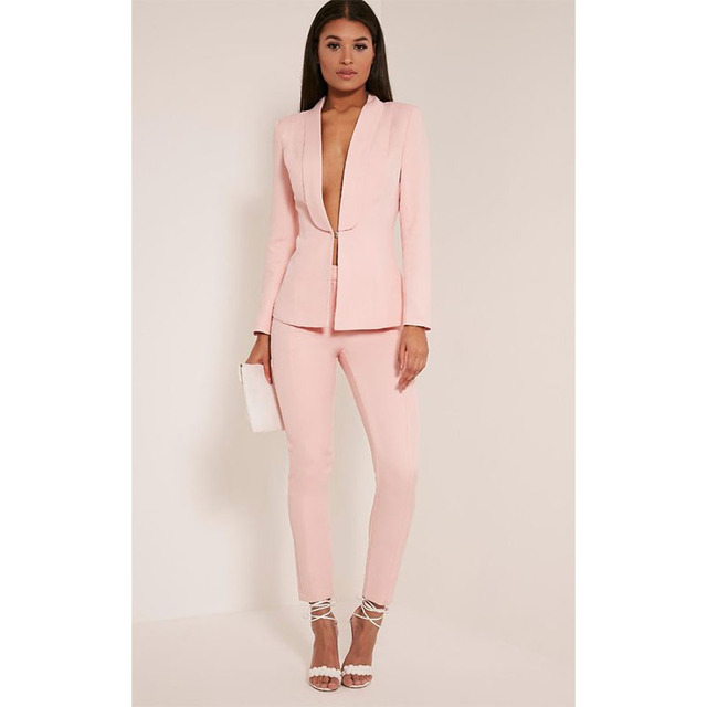 New Light Pink Women S Fashion Elegant Las Business Suits Formal Pants For Weddings Feminine