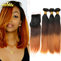 Ombre Brazilian Straight Hair With Closure 8a Mink Brazilian Hair 3 Bundles Straight Human Hair Weave With Closure Light Brown