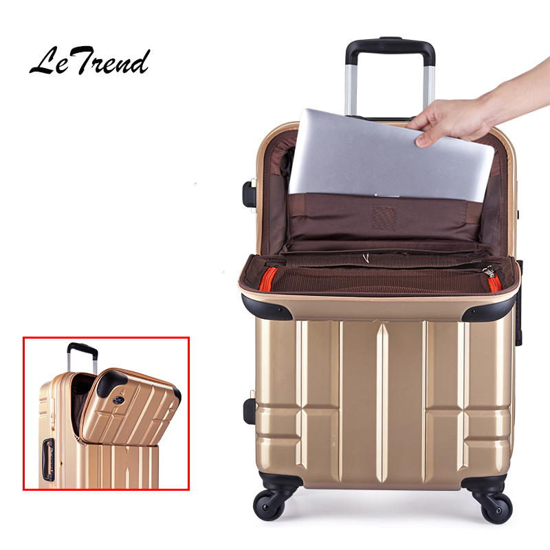 LeTrend High-grade Luxury Aluminum Frame Rolling Luggage Spinner Wheels Suitcase 24 inch Trolley High Quality Laptop Travel bag