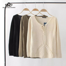 Bella Philosophy 2018 Lace up knitted pullover sweater Hollow out elastic knitting pullover Loose autumn winter jumper pullover
