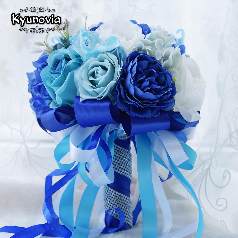 Kyunovia Mint Blue Wedding Bouquet Konstgjord Siden Bride Bouquet - Bröllopstillbehör - Foto 2