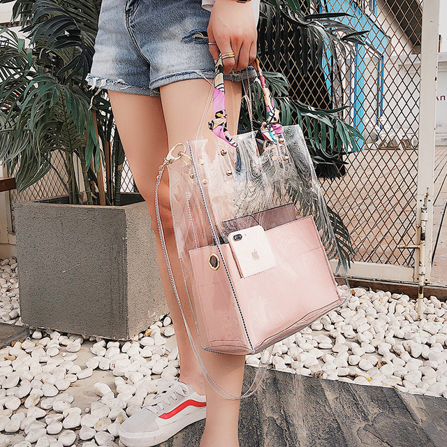 2018 Summer New style Transparent Jelly Women bag High quality PVC Handbags  High-capacity Tote d19fb43a73b35