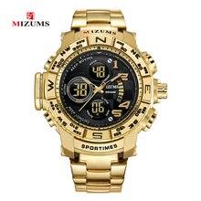 Mizums бренд кварцевые часы для мужчин спортивные сталь Группа Военная Униформа часы водонепроница золото светодиодный LED цифровые часы Relogio Masculino