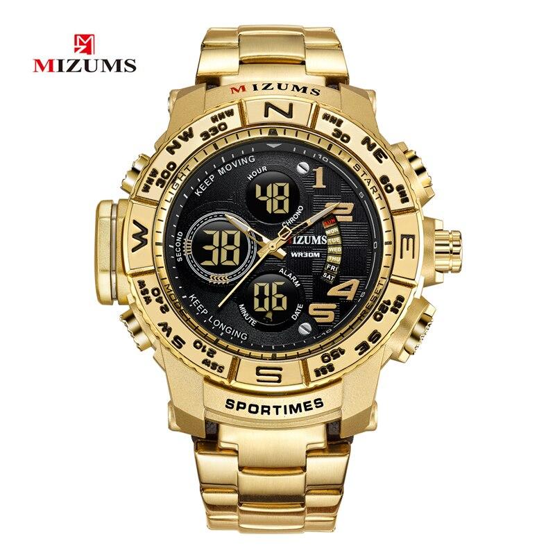 Reloj de cuarzo de marca Mizums relojes deportivos para hombre reloj militar de banda de acero reloj Digital LED de oro resistente al agua