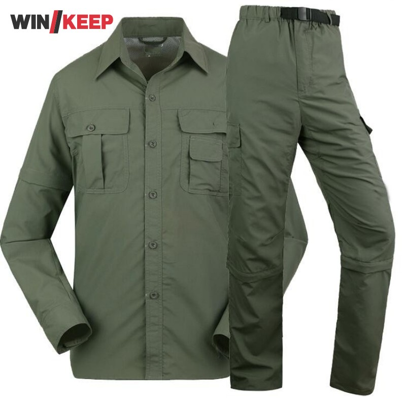 Trekking Man Summer Quick Dry Shirt Hiking Pant Suit Men Fishing Sport Camping Breathable Shirts Climbing Trousers Army Green summer women spring trecking quick dry hiking shirt woman fishing pant sportwear camping trousers suit plus size shirt pant s21