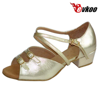 Evkoodance Girls Latin Dance Shoes 3 Cm Low Heel Golden Sliver Color With Buckle High Quality