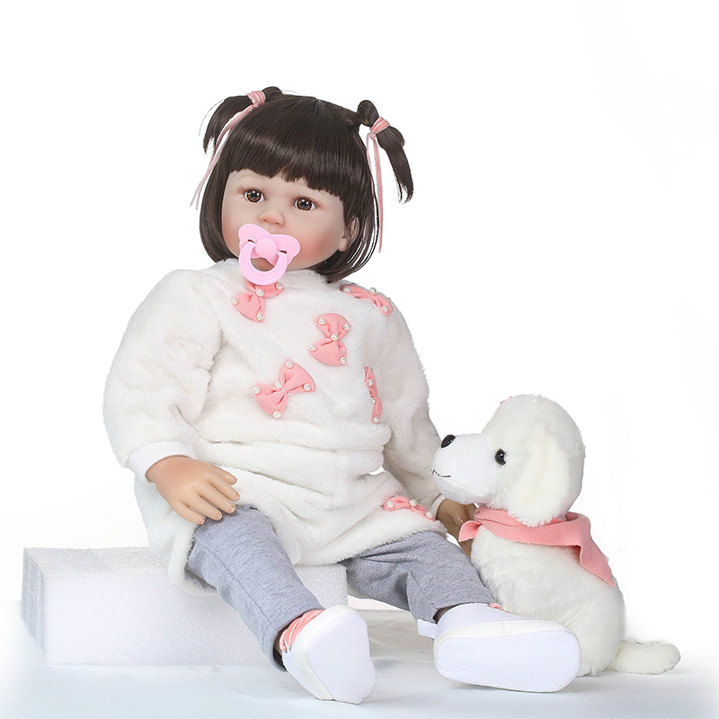 Nicery 23-24inch 58-60cm Bebe Reborn Doll Soft Silicone Boy Girl Toy Reborn Baby Doll Gift for Children White Dog Baby Doll nicery 18inch 45cm reborn baby doll magnetic mouth soft silicone lifelike girl toy gift for children christmas pink hat close