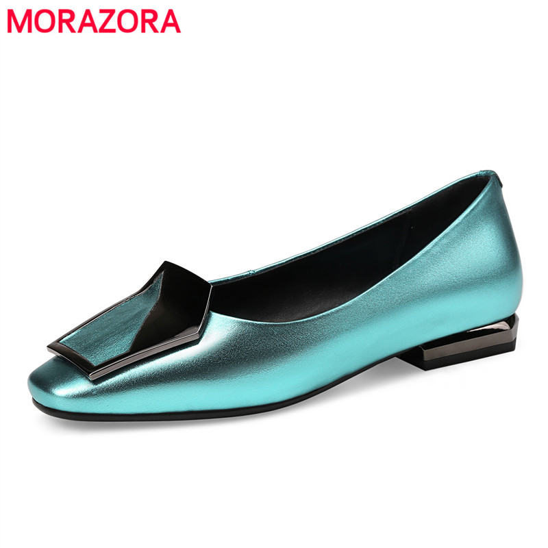 MORAZORA Big size 34-43 2018 New genuine leather shoes woman low heel women pumps square toe ladies dress wedding shoes blue 2017 real top cover heel open casual sapato feminino melissa genuine big size retro solid square heel shoes woman ladies womens