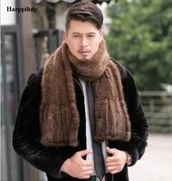 2018 Modern men Mink Fur Shawl Good Gift Real Fur Scarf Genuine Mink Scarf Hand Knitted Mink Scarf Winter Fur 15% discount