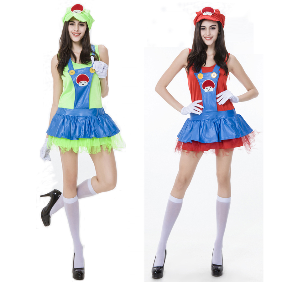 Sexy Adult Game Anime droll Super Mario coaplay Costume Halloween Costumes for Women party Super Mario dresses