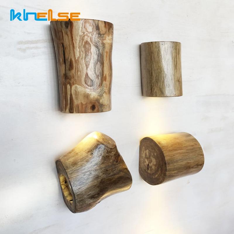criativo retro conduziu a luz de parede de madeira macica do vintage lampada 3 w 6