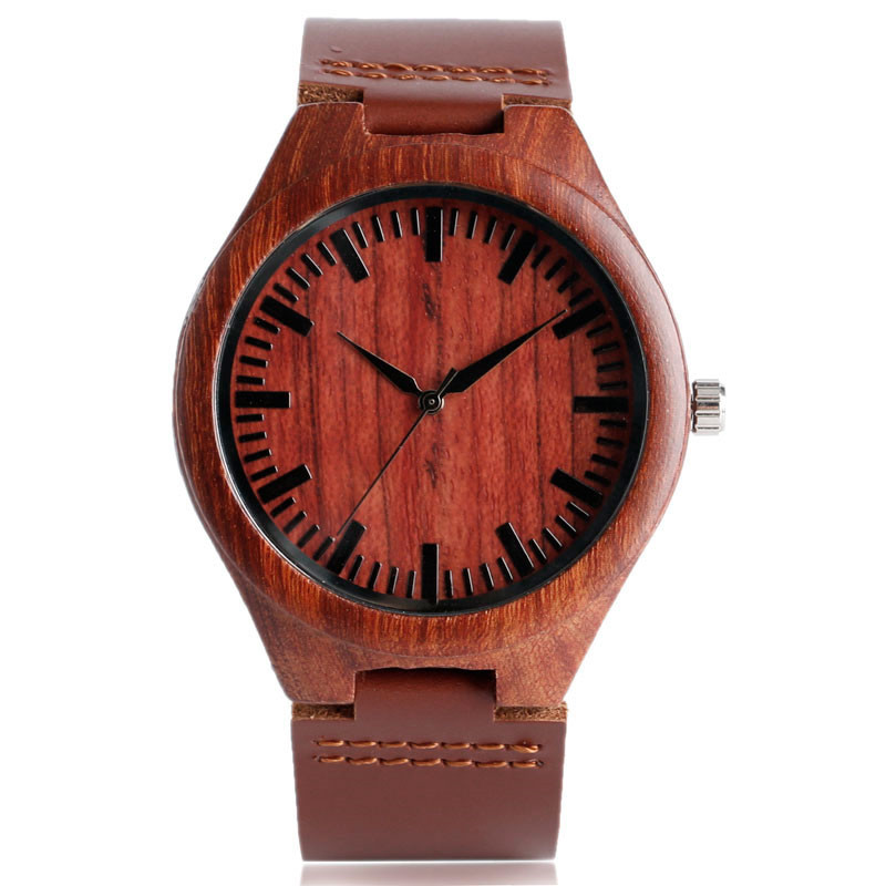 Klassisk röd Maple Wood Watch med Dark Brown Original Leater Band - Herrklockor