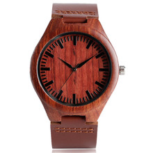 Classical Red Maple Wood Watch with Dark Brown Genuine Leate