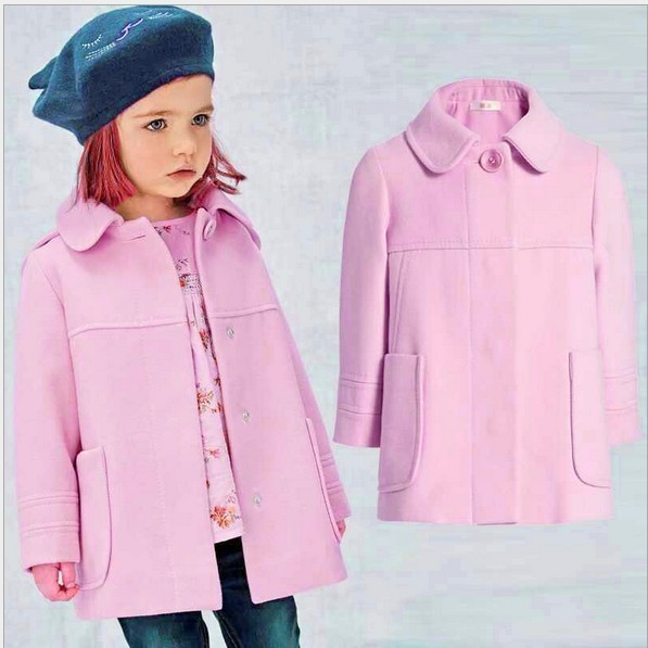 2017 new  the winter children wear long sleeved wool coat girl child coat unisex button fashion solid wool&blends for girls