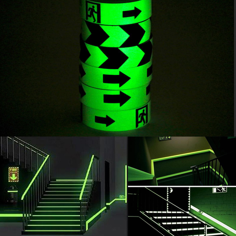 Купить с кэшбэком 3M Glow Tape Self-adhesive Sticker Removable Luminous Tape Fluorescent Glowing Dark Striking Warning Tape