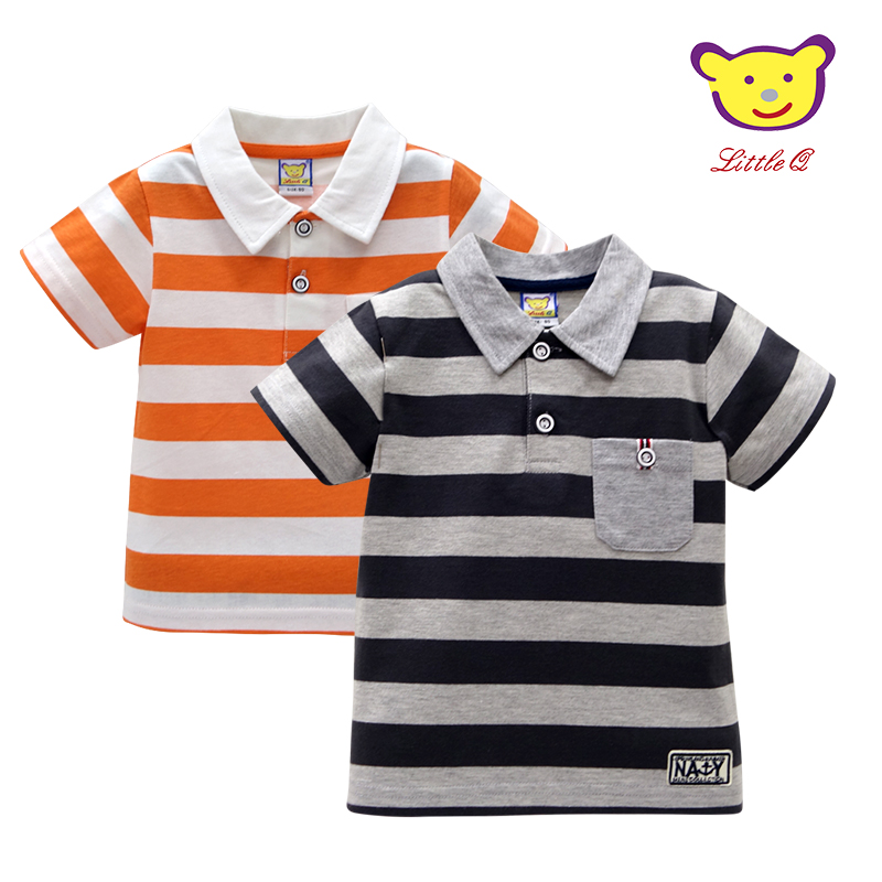 2019 Baby Cotton Short Sleeve Striped Tees Fashion Infant Polo Shirts Newborn Undershirts Children Clothing
