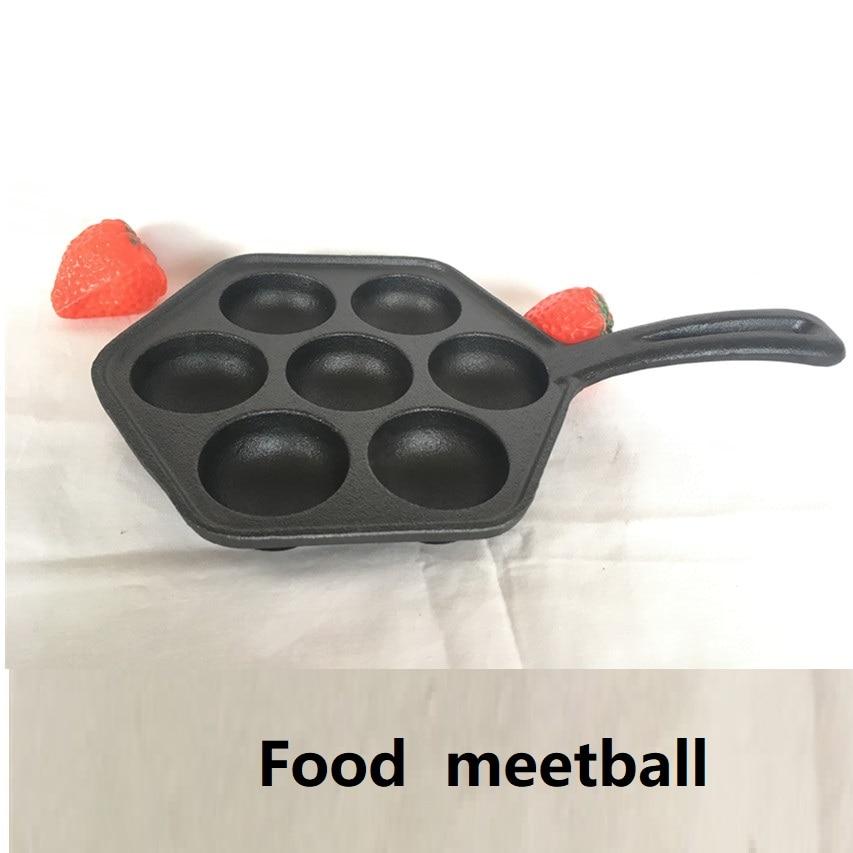 7-hole Pan Fish Meatball Pot Cast Iron Uncoated Teppanyaki Egg Quail Cast Iron Frying Pan Ball Food Baking