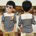 2016 Korean Baby Boys Clothes Kids Long Sleeve Striped T-shirt Boys Stitching Pocket Bottoming Shirt Children Clothing Tops Tees