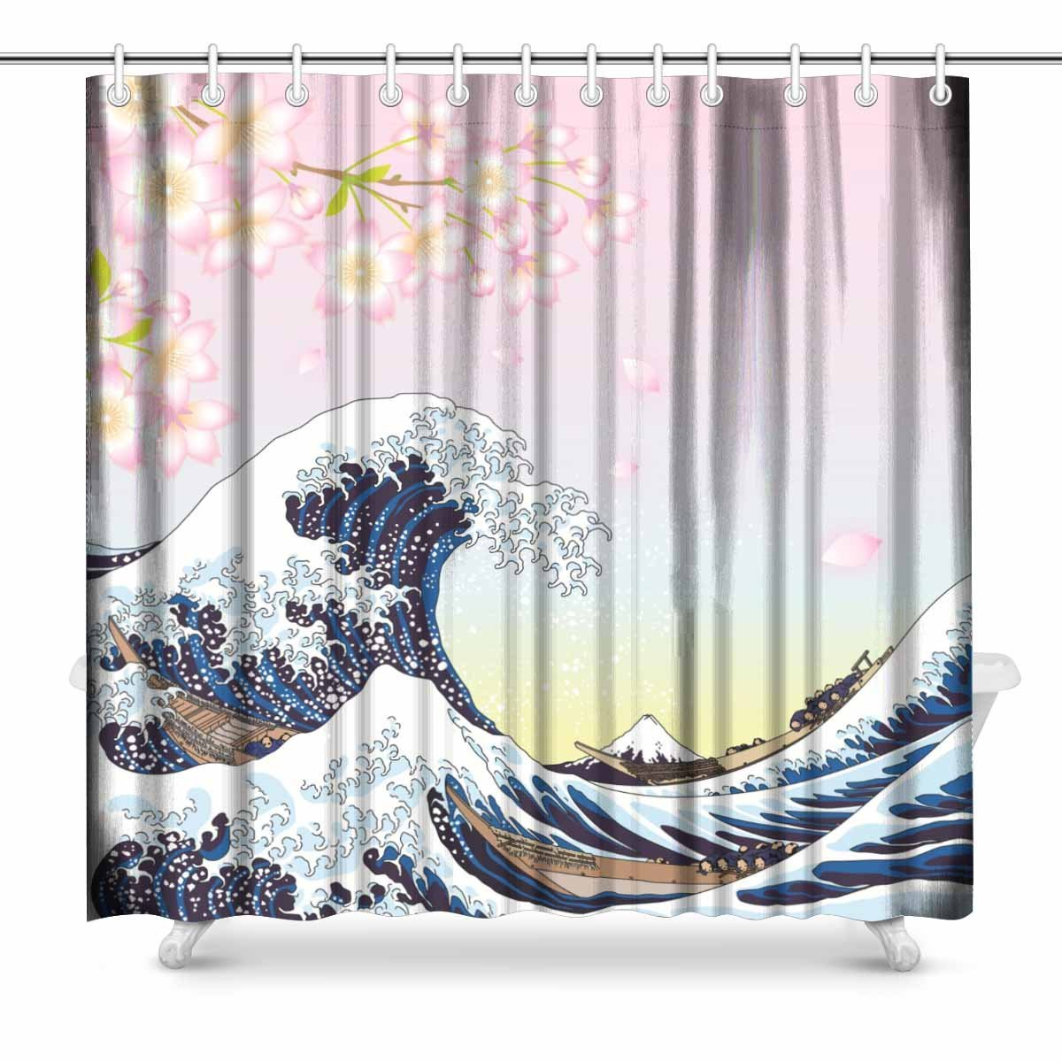 Us 31 49 Aplysia Big Wave And Cherry Blossoms Fabric Bathroom Shower Curtain Set 72 X 72 Inches In Shower Curtains From Home Garden On