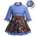 Pettigirl 2017New Autumn Girl Dress Stitching Printing Dot Clothing With Sash High Waist Kids Boutique Wear G-DMGD908-967