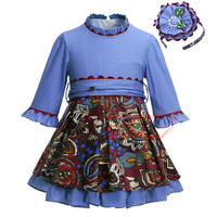 Pettigirl 2017New Autumn Girl Dress Stitching Printing Dot Clothing With Sash High Waist Kids Boutique Wear G-DMGD908-967