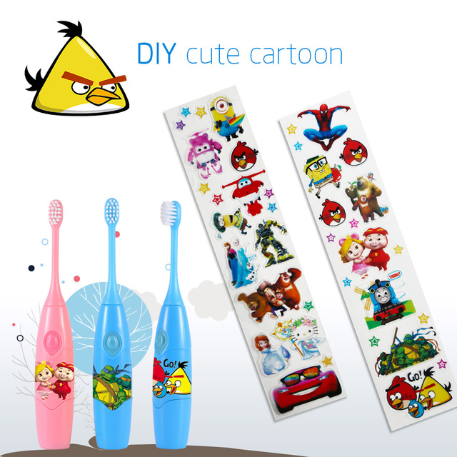 Diy Cute Cartoon Pattern Toothbrush Music Children Sonic Electric With Replacement Heads For Kids