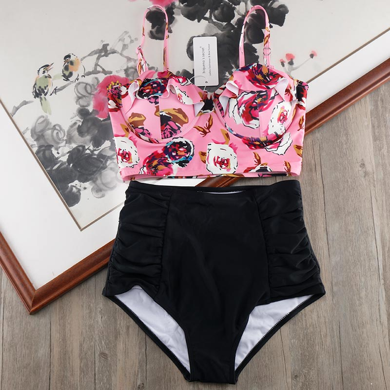 Melphieer High Waist Bikini Set 2019 Biquini Plus Size Swimwear Women 3XL Print Swimsuit Bandage Bathing Swimming Suit Bikinis