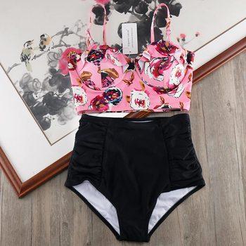 Melphieer alta cintura Bikini 2020 Biquini de talla grande traje de baño mujeres 3XL impresión traje de baño de vendaje de baño Bikinis el traje de baño
