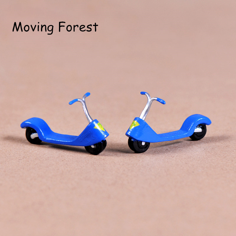 Blue Scooter Miniature Fairy Garden Home Decoration Craft Micro Landscaping  Decor DIY Gift Moving Forest(