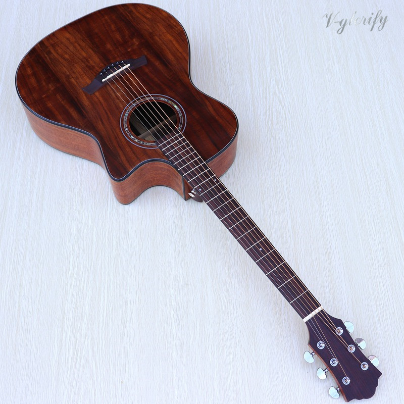 Acacia Koa 6 Strings Handmade electric acoustic guitar free shipping