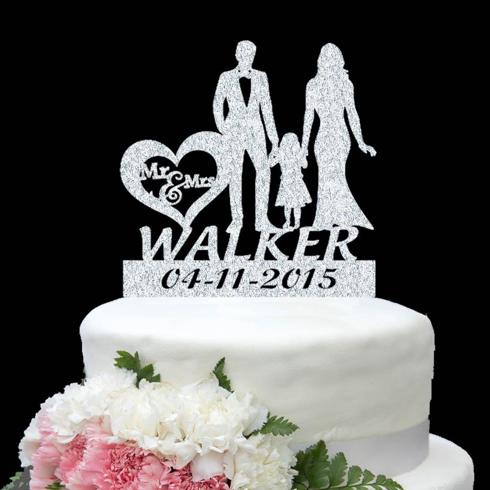 Personalize Name Date Gold Silver Wedding Cake Topper Mr Mrs Kid ...