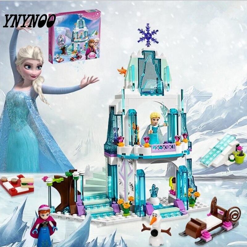 YNYNOO 316pcs Color Dream Princess Elsa Ice Castle Princess Anna Set Model Building font b