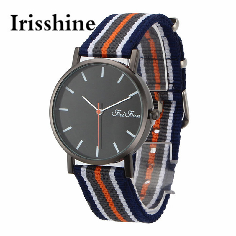 Irisshine I0674 Fashional Couple Casual Pointer Dial Striped Canvas Band Quartz Wrist Watch Men Women Unisex Watches Gift