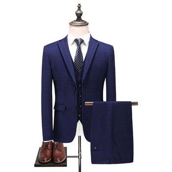 2018 new arrival mens High quality fashion casual plaid suit men,men's Business Classic suits plus-size S -3XL