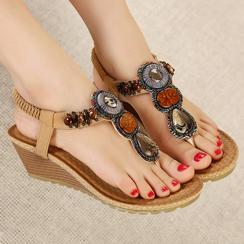 Leisure Platform Women Summer Sandals Wedges Bohemia Gladiator Beach Sandals Female Flip Flops Ladies Footwear Women Shoes DC14 women sandals 2017 summer shoes woman flips flops wedges fashion gladiator fringe platform female slides ladies casual shoes