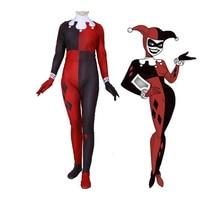 Free Shipping Suicide Squad Harley Quinn Women Girls Cosplay Costume Zentai Superhero Harleen Quinzel Bodysuit Suit Jumpsuits