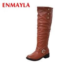 7282fa7d Fashion Winter Mid Knee High Boots Ladies Botas Women Motorcycle Boots  Brown Black Yellowflats Heels Autumn