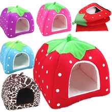 Pet Dog Cat Rabbit House Foldable Soft Sponge Bed Kennel Doggy Warm Plush Pad Leopard Strawberry Colored Nest Fleece Cat Tent
