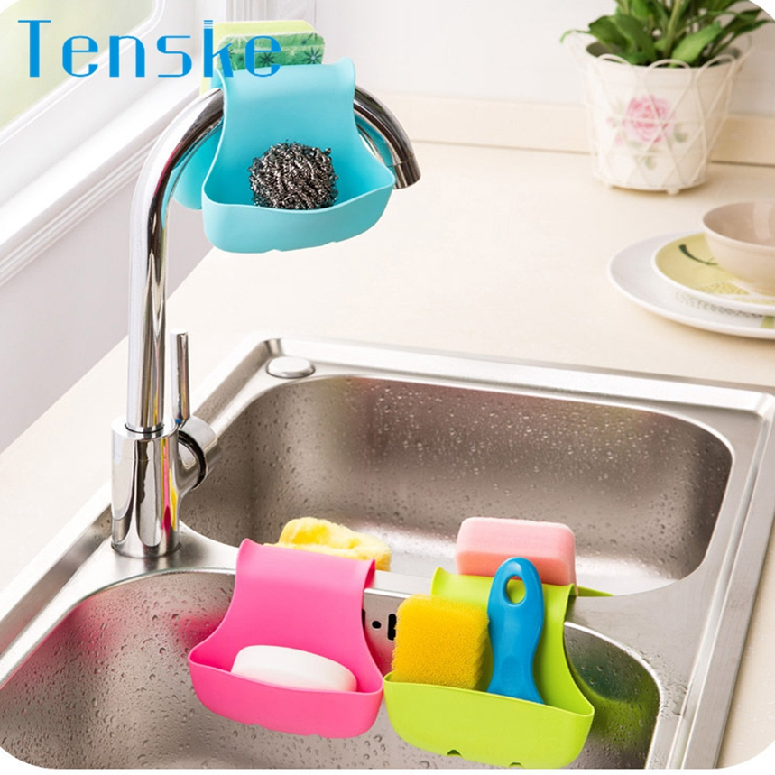 Tenske Top Grand Double Sink Caddy Saddle Style Kitchen Organizer Storage Sponge Holder Rack Tool 1pc Dropship