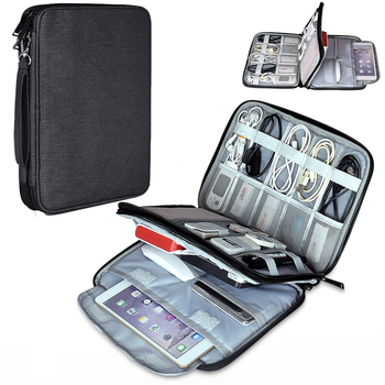 Portable Travel Case Organizer Bag for iPad mini 4/5 Pro 9.7 11 Air 2 Cables USB Flash Drive Charger Earphone Powerbank Tablet