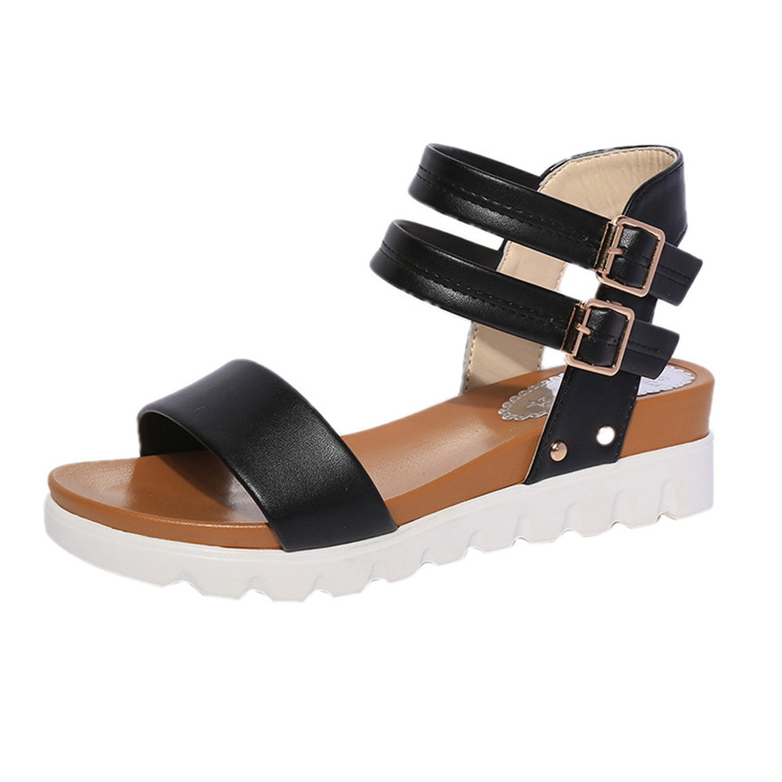 Fashion Women Summer Simple Sandals Leather Flat Sandals Ladies Casual Peep Toe Flat Buckle Shoes Sandales