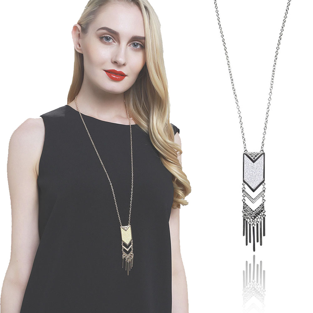 Boho Silver Statement Necklaces For Women Gold Long Tassel ...