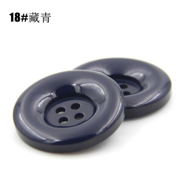 Large 18mm 28mm Black with White Swish 4 Hole Polished Button Buttons Q693A-B