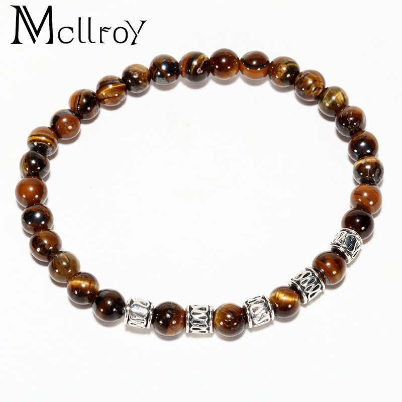 Mcilroy charm bransoletka natura lava kamień koralik bransoletki kobiety mężczyzna szary czarny brązowy prezent dla par biżuteria w stylu vintage bracciali donna