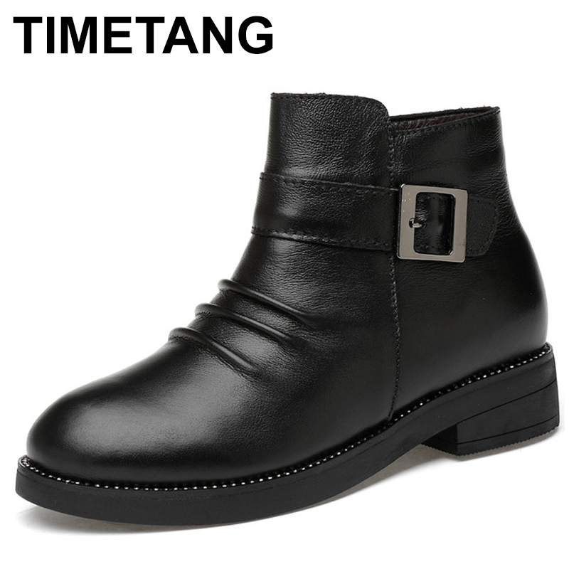 цены на TIMETANG Women Boots Genuine Leather Autumn Casual Leather Shoes Famale Ankle Boot Winter Boots Plush Fur Warm Snow Shoes Zipper