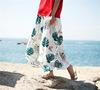 Luźne szerokie zielony liść kwiatowy Print dwuwarstwowe kobiety Rayon spódnica lniana-spodnie, lato cienkie Preppy panie unikalna konstrukcja Capris
