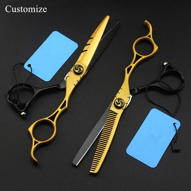 カスタマイズ日本440c 6インチゴールド中空ヘアーサロンはさみ切断理髪makas間伐はさみ理髪はさみ